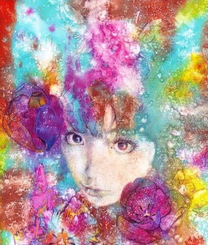チューリップと妖精のいる自画像