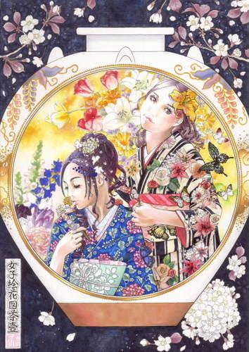 女子絵花図茶壷
